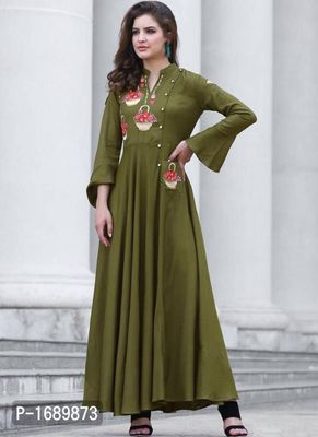 Green  Rayon Semi-Stitched Ethinic Gown