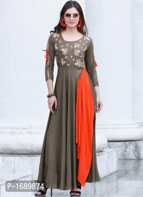 Grey  Rayon Semi-Stitched Ethinic Gown