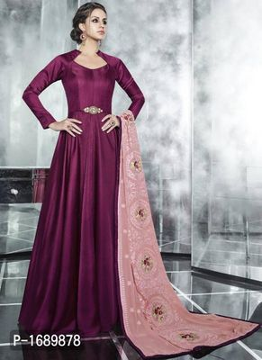 Magenta  Silk Blend Semi-Stitched Ethinic Gown