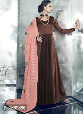 Brown  Silk Blend Semi-Stitched Ethinic Gown