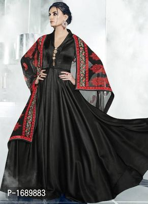 Black  Silk Blend Semi-Stitched Ethinic Gown