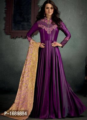 Purple  Silk Blend Semi-Stitched Ethinic Gown