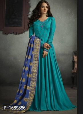 Turquoise  Rayon Semi-Stitched Ethinic Gown