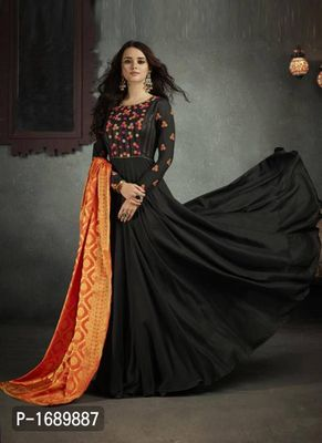 Black  Rayon Semi-Stitched Ethinic Gown