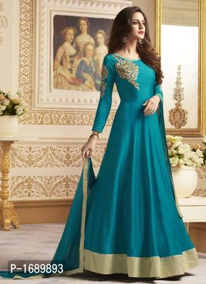 Turquoise  Silk Blend Semi-Stitched Ethinic Gown