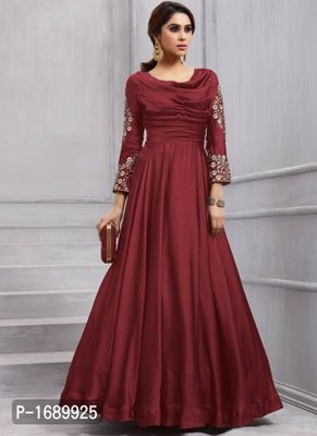 Maroon  Silk Blend Semi-Stitched Ethinic Gown