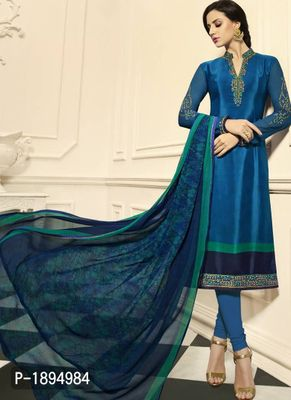 Blue Embroidered Crepe Dress Material