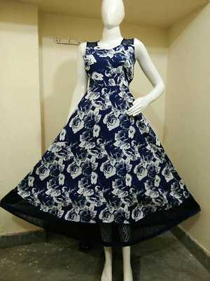 *New Prints With Long Flare Love Express Long dress* Fabric Crape With inner  Net With Backside Zip Knote Belt Inside sleeve Cloth  Free Size  *Bust 32 UpTo38* Length 50 * Wholesale Available