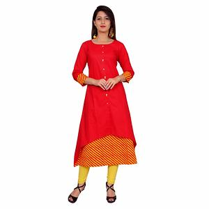 Cotton Cambric  Self Design Kurti