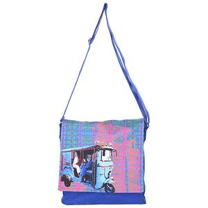 Blue Taxi  Digital Printed Canva Sling Bag