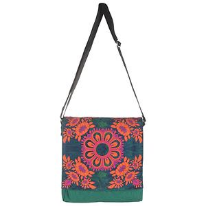 Magnificent Flower Motif Canvas Sling Bag