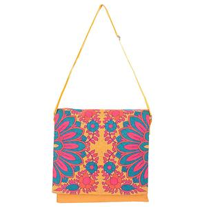 Splendid Flower Motif Canvas Sling Bag