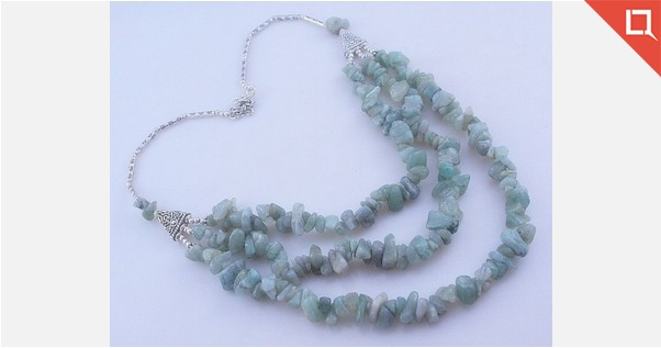 Uncut Amazonite Beaded Necklace Jewelry 87 Gr. Ms-19-7