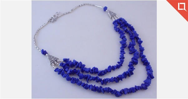 Uncut Blue Agate  Beaded Necklace Jewelry Ms-19-7