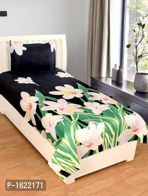 Polycotton Single Bedsheet With 1 Pillow Covers