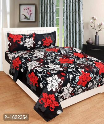 Printed Double Bed Polycotton Bedsheet with Two Pillow Covers