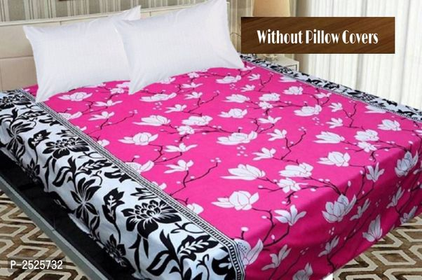Colorfull Printed Pink Polycotton Floral Queen Size 1 Bedsheet only