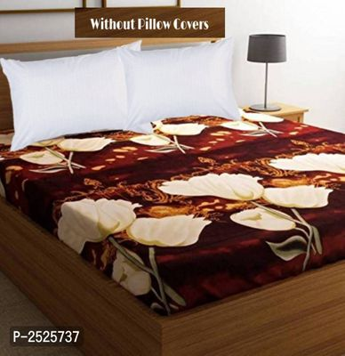 Colorfull Printed Brown Polycotton Floral Queen Size 1 Bedsheet only