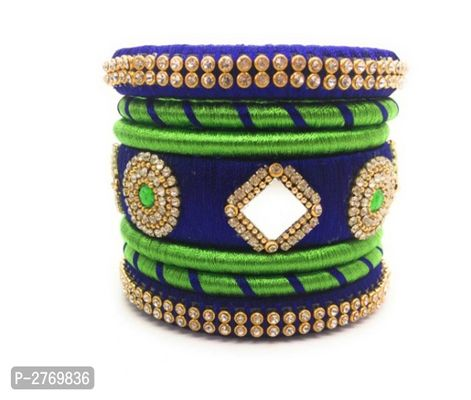 Traditional Party Wear Beautiful Silk Thread Bangle Set
