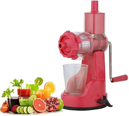 Deluxe Pink/Red Manual Hand Juicer
