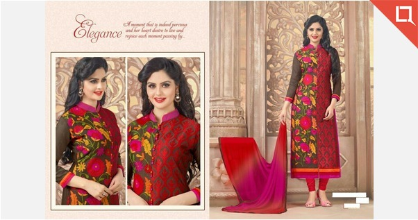 Embroidered Chanderi Dress Materail