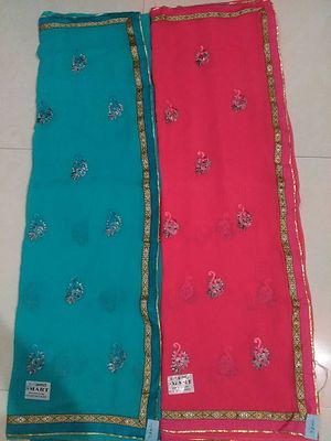 Buy these 2 @ wholesale rate. Embroidered Goerget Saree@ wholesale rate