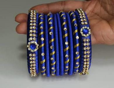 Blue with stone work bangles