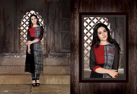 Trendyindia Multi Color Embroidery Kurti Red & Black Combination