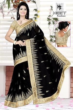 New Linen Material Embroidered  Saree
