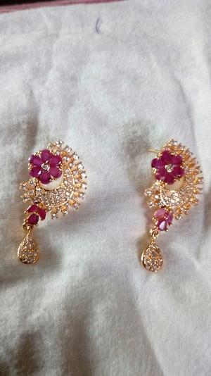 Pink stone studded earrings
