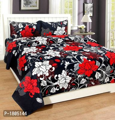 Black 3D 124 TC Polycotton Double Bedsheet with 2 Pillow Covers
