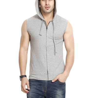 Grey Solid Hooded Tees