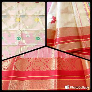 red and cream pure tussar silk with golden motifs