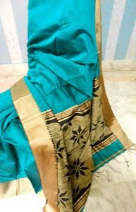 Gheecha mixed soft silk with jute aanchal and attached blouse piece, 3 colour variants available, deep red, deep sea green and deep purple(actual is one shade darker than pic) 1435/- including shipping