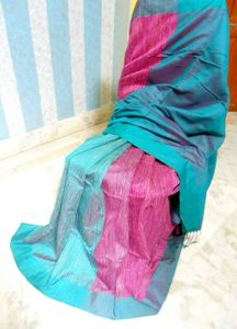 Deep onion pink with deep sea green Silk mixed Khesh patli pallu style saree with attached blouse piece 753/- including shipping