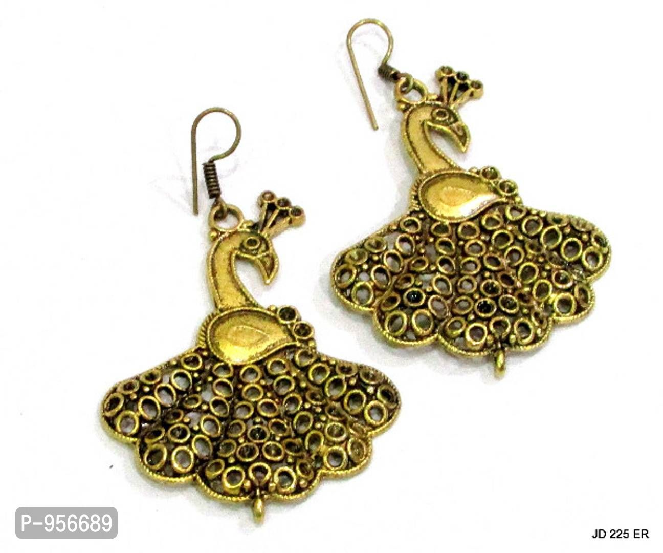 Peacock Gold Plated Dangle Drop Bollywood Fashion Antique Jewelry