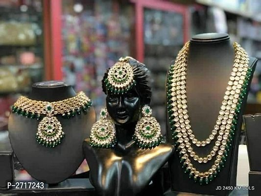 Multi Strand Pearl Kundan Moti Indian Traditional Bridal Jewelry Combo Set Ethnic Boho Bride, Indian Bride