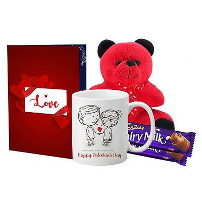Teddy Bear, Chocolates Gift Box, Greeting Card & Mug Combo