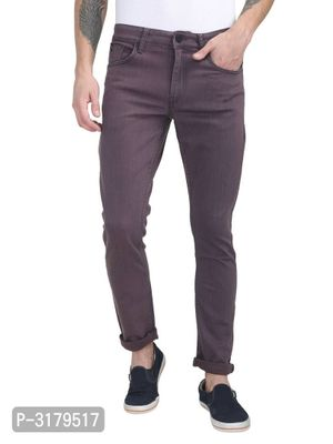 Men's Red Denim Solid Slim Fit Mid-Rise Jeans