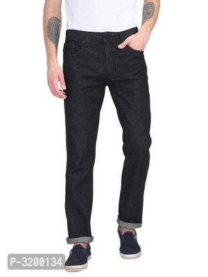 Men's Black Denim Solid Regular Fit Mid-Rise Jeans
