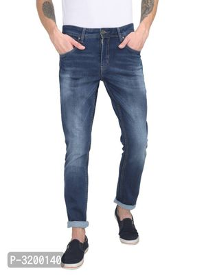Men's Blue Denim Faded Slim Fit Mid-Rise Jeans