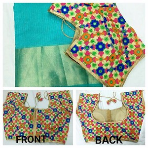 Chanderi cotton with ready made blouse and running blouse