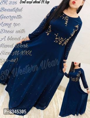 Pure Georgette LONG 1PC WITH BLEND OF HANDWORK
