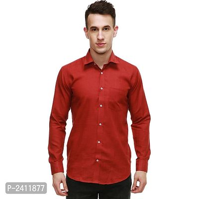 Red Cotton Solid Casual Shirt