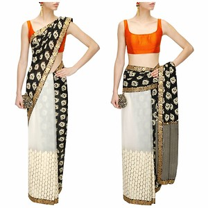Black and Ivory Printed Floral Embroidered Saree With Orange Polka Dot Blouse Piece