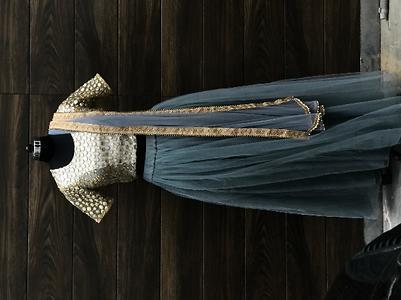 Grey lehnga with mirror work blouse