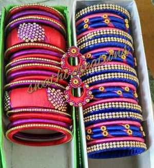 Silk thread bangles 650 set necklace sets 750 to 900