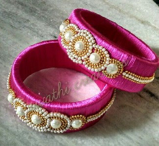 silk thread bangles at reasonable prices starting price is 350