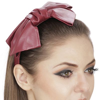 Contemporary Statement Maroon Bowknot Hair Band