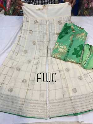 Super Fine Pure cotton Designer printed shirt with Gold print. With finest quality cotton Sharara with Beautiful Jari Baadla work all over.   Size: shirt ,chest- 40
